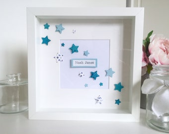 Personalised 3D Star and Name Box Frame. Perfect for a new baby or simply to decorate a little ones bedroom / nursery. customisable.
