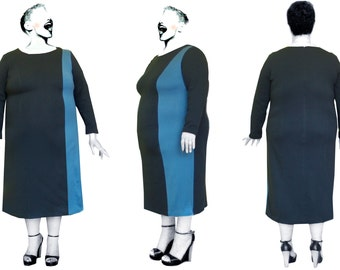 Two-coloured shift dress with contrasting side panel