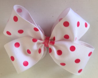 White with Pink Polka Dot Hair Bow with Clip