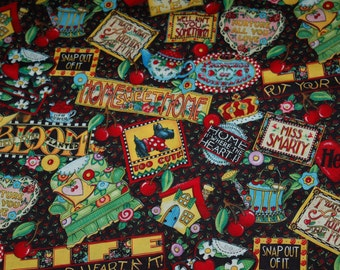 """Mary Engelbreit Fabric With Scotty Dog, Hearts, Cherries, Quotes, etc. 42"""" x 23"""""""