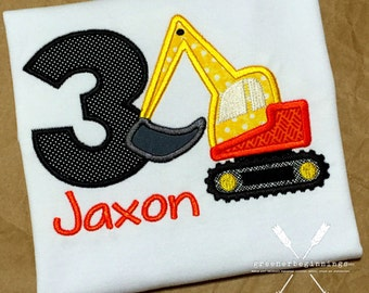 Birthday Construction Shirt / Digger Birthday Shirt / Digger Applique / Excavator Shirt / First Birthday Shirt / Birthday Outfit