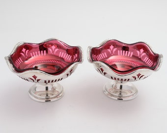 Pair of Mappin & Webb Silver Plated Bon Bon Dishes with Cranberry Liners (ID 47168)