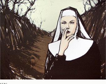 Nun leaving the convent