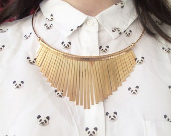 Pink gold metal bib necklace