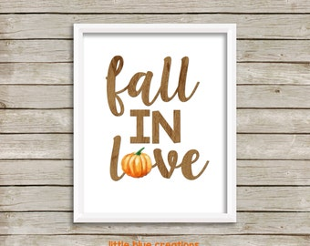 Fall in Love - Autumn Pumpkin Print