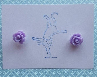 Handmade small lilac rose earrings - pair of 10mm lilac rose silver plated earrings