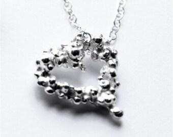 Fair Trade Medium Pebble Heart Silver Necklace
