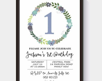 Invitation | 1st Birthday | Baby Shower | Floral Wreath | Girl or Boy | Party Invite | Special Occasion | Pink and Blue