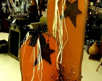 Large Primitive Wooden Pumpkins on Stand with Pip Berry and Rusty Stars