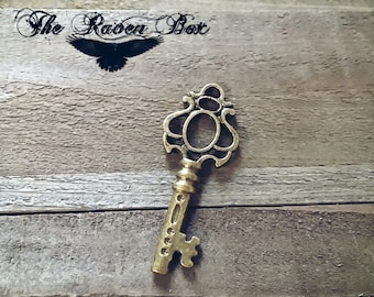 "Bronze Skeleton Key Steampunk Key Antiqued Bronze Key Charm Pendant Double Sided 44mm/1.75"" Wedding Key Escort Card Key Charms by the Piece"