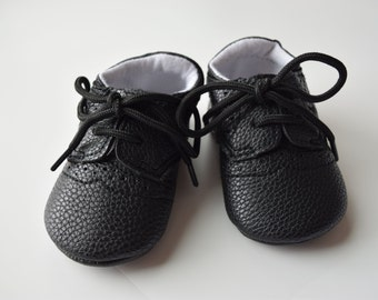 Black Oxford Baby Shoes, Size 2, Baby shoes, Leather baby shoes, tie up laces