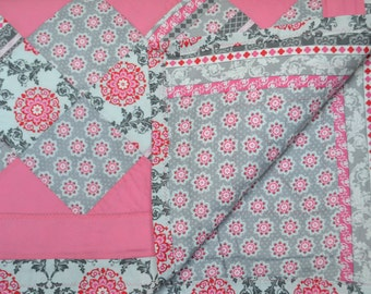 Pink and Grey Paisley Quilt