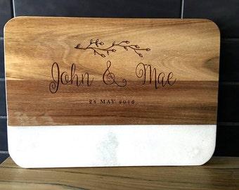 Personalised Wood & Marble Board - 36cm