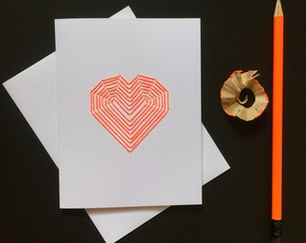 MODERN VALENTINE's CARD,Hand Embroidered Geometric heart,Romantic Card for girlfriend,wife, friend,Anniversary Card for wife or husband