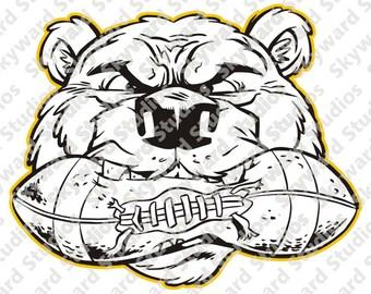Bear Football Mascot  Clipart SSBF01