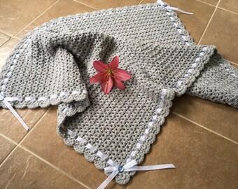 FREE SHIPPING: Light gray crocheted baby blanket