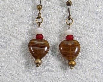 Dangle Earrings #205 Brown and Red Beads
