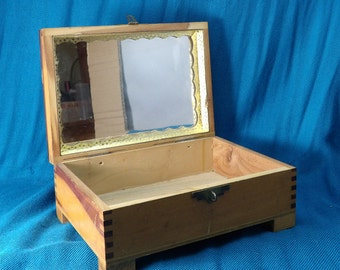 Decoupage Vintage Wooden Jewelry Treasure Box With Mirror