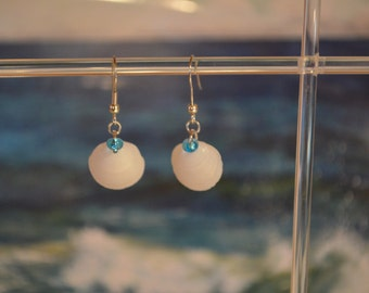 Shell earrings with blue beads