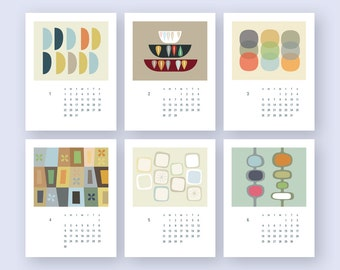 Mid century art Calendar PRINTABLE 2017 Calendar US Letter A4,  Wall decor Gift  (#012)