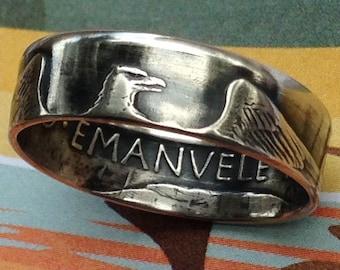 1927 Italy 5 Lira Coin Ring -- 83.5% Silver