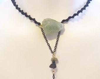 Aquamarine Macrame Necklace Black