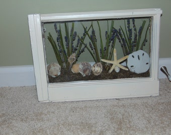 Antique repurposed window with Floral Beach Decor