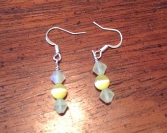 Yellow cats eye earrings