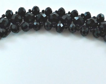 Bracelet Black Crystal With Black Beads with Silver Clasp #17 #Handmade