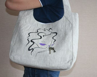 Neutral Linen Bag with handdrawed patterns