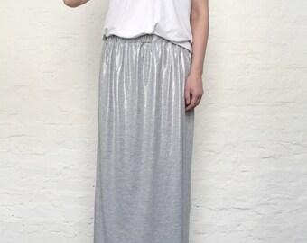 RESERVED. gray silver jersey skirt everyday skirt, maxi skirt