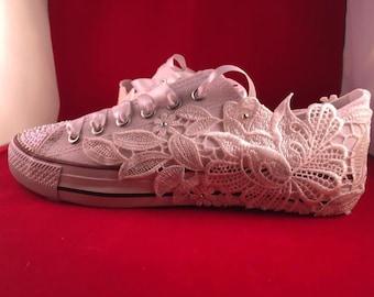 Canvas Style Bridal Shoes Wedding Shoes Flats Lace Shoes