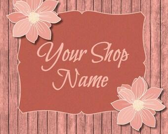 Floral Banner Sets, Wood Banner Set, Shop Banner Set, Banner Set, Premade Banner, Custom Banner, Banner Design,  Peach Wood Banner,