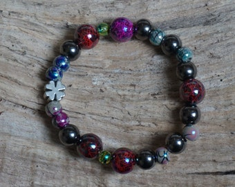 Pearl bracelet with colorful beads 2175 anthracite