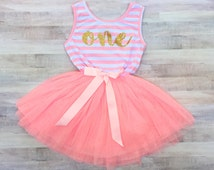 First Birthday Outfit / Girl Dress Pink Striped / Gold Letter One / Tutu Dress Girls / 1st Birthday Dress / Cake Smash Outfit