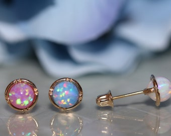14K Pure Solid Yellow Gold Bezel Opal Screw-Back Stud Earring Set With Yellow Gold Halo (6.6mm) #S92750