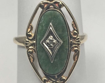 10K Yellow Gold Jade Ring with Accent Diamond