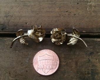 Rose faux earrings gold