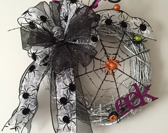 Spider Web Wreath-Halloween Wreath-Black & White Spider Wreath-Holiday Wreath-Fun Whimsical Wreath-Glitter Web Wreath