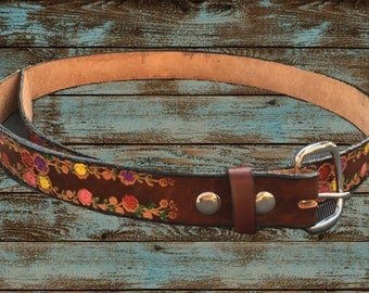 Hand Painted genuine leather flower belt