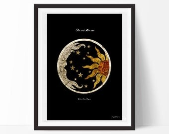 Sun and Moon -Vintage, Neo retro, Astronomy, design, home decor, poster, ancient, wall, picture, interior design, elegant-