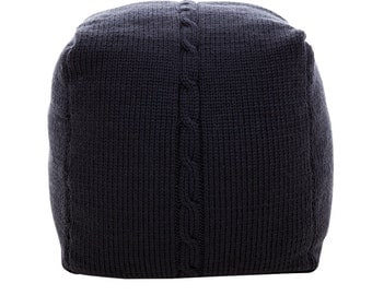 Hand Made Knitted Wool Pouf - Chunky Cable - Charcoal