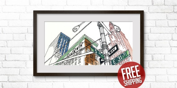 NEW YORK, Empire State Building, Giclée Print, One Way Sign, Color Ink & Acrylic Paint, Art Poster, Home Decor, FREE Worldwide Shipping!