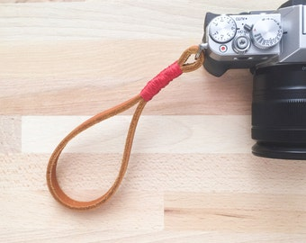 Leather band brown red, camera wrist strap for camera