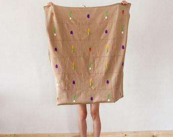 Garden Veggies Baby Quilt, Baby blanket, knitted blanket, vegan