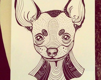 Chihuahua Dog A4 A5 illustration, print, art, dog print, dog drawing, chihuahua illustration, chihuahua drawing