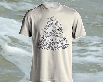 The Sinking - Galleon, ship, Octopus, kracken illustration shirt