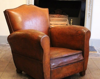 Circa 1940's single leather club chair