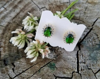 18k Gold Plated Green Crystal and Cubic Zirconia Earrings