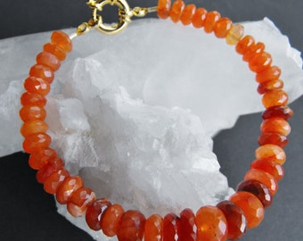 Faceted Carnelian Gemstone Bracelet